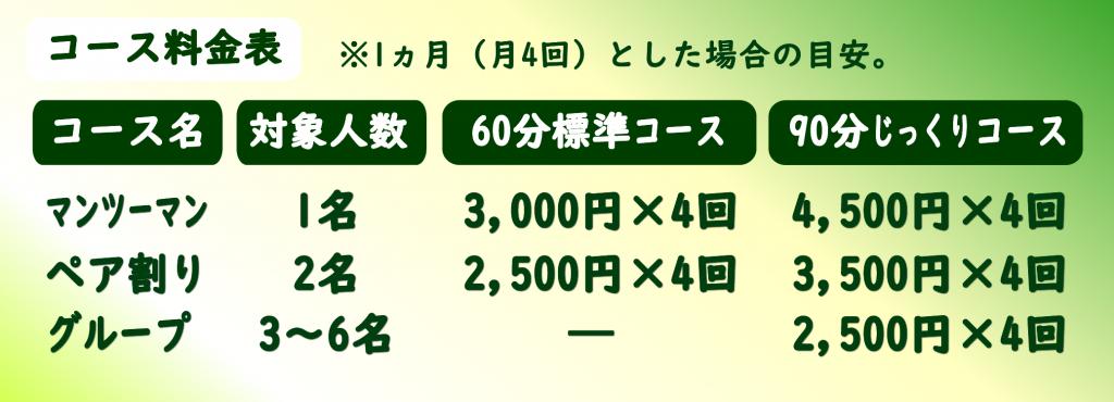 コース料金表